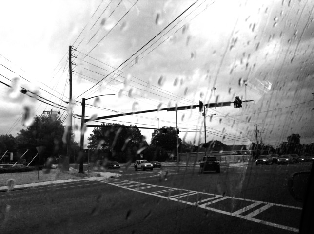 Black White Rainy Road